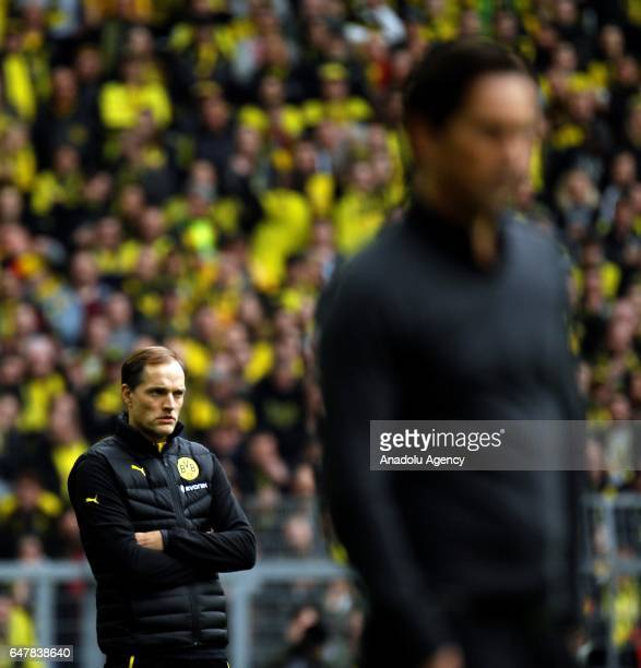 Headcoach Thomas Tuchel of Borussia Dortmund is seen during the Bundesliga soccer match between Borussia Dortmund and Bayer 04 Leverkusen at the...