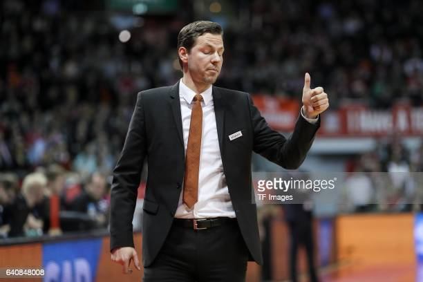 Headcoach Thorsten Leibenath of ratiopharm Ulm gestures during the Eurocup Top 16 Round 5 match between FC Bayern Muenchen and ratiopharm Ulm at Audi...