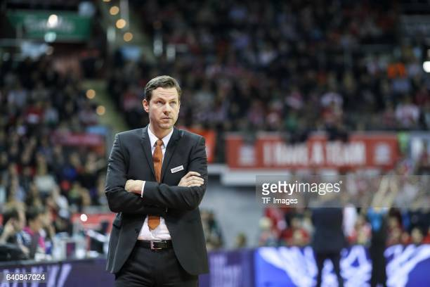 Headcoach Thorsten Leibenath of ratiopharm Ulm looks on during the Eurocup Top 16 Round 5 match between FC Bayern Muenchen and ratiopharm Ulm at Audi...