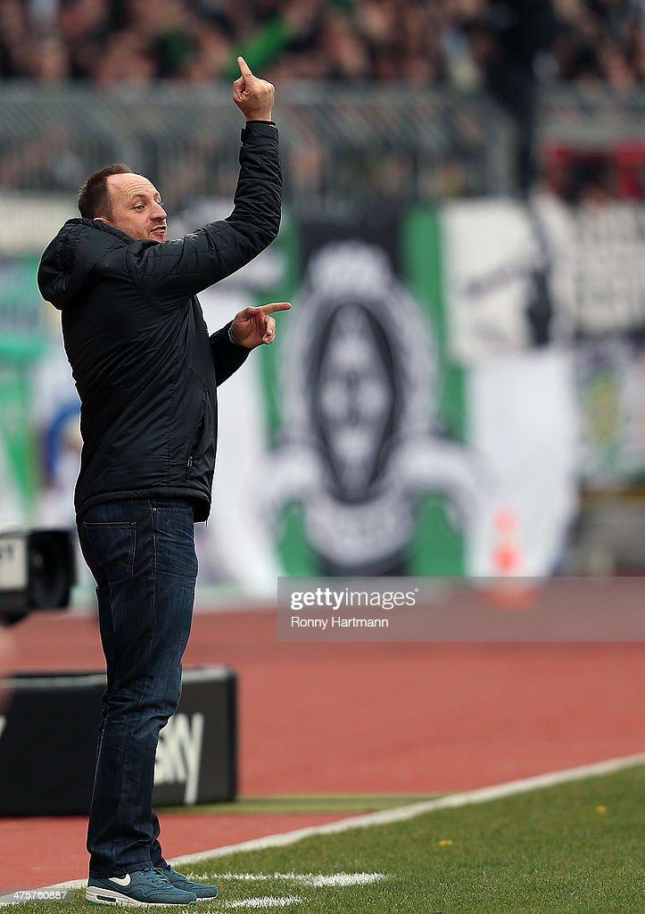 Headcoach Torsten Lieberknecht of Braunschweig gestures during the Bundesliga match between Eintracht Braunschweig and Borussia Moenchengladbach at Eintracht Stadion on March 1, 2014 in Braunschweig, Germany.