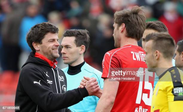 Headcoach Torsten Ziegner and Ronny Koenig of Zwickau after the Third League match between FSV Zwickau and Fortuna Koeln on April 23 2017 at Stadion...