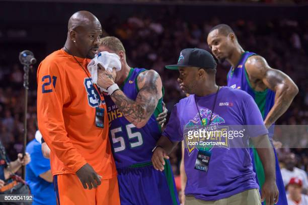 Headed Monsters player Jason Williams is helped off the court after an injury during a BIG3 Basketball League game on June 25 2017 at Barclays Center...