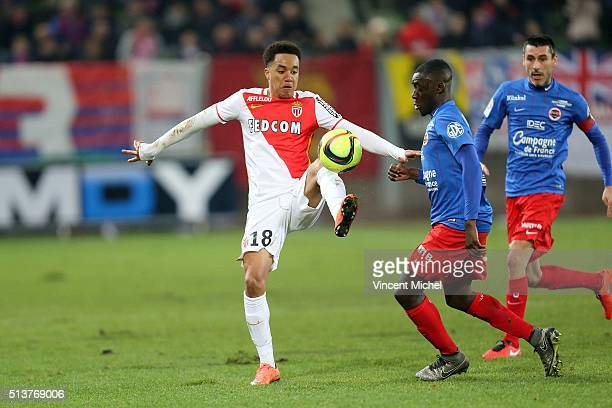 Header Costa of Monaco during the French Ligue 1 match between SM Caen v AS Monaco at Stade Michel D'Ornano on March 4 2016 in Caen France