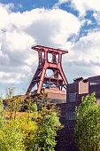 Headframe of Zollverein Coal Mine Industrial Complex with blue sky