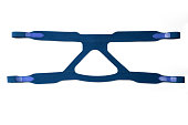 Head band replacement of CPAP mask in blue color isolated on white background.