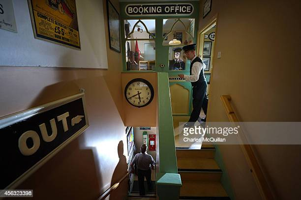 Headhunters station master Nigel Johnston prepares to close the premises at closing time on September 29 2014 in Enniskillen Northern Ireland...