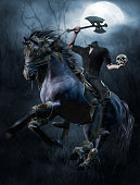Fantasy headless horseman with an axe and a skull in the forest. 3D render.