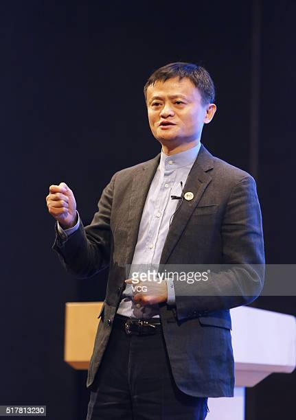 Headmaster Jack Ma founder and chairman of Alibaba Group speaks during the opening ceremony of Hupan College's second term on March 27 2016 in...