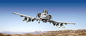 Head-on view of attacking A-10 jet