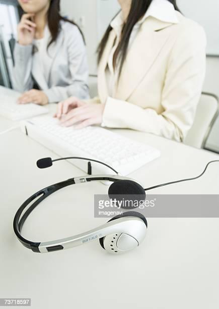 A headphone on the desk