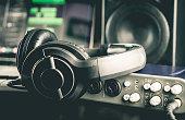 Headphone with other professional audio studio equipments.