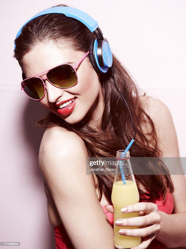 Headphones drink : Stock Photo