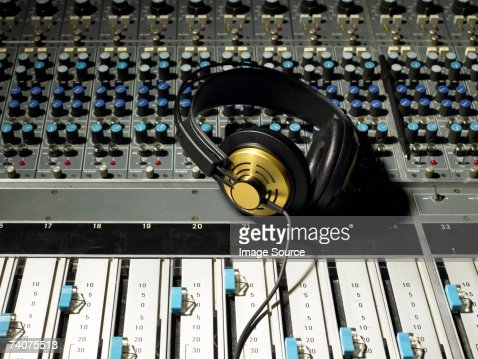 Headphones on a mixing desk