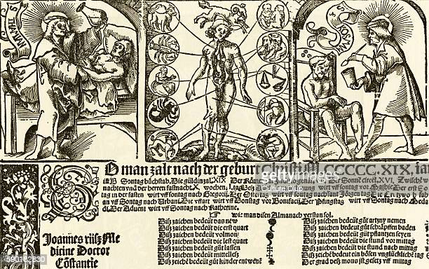 Headpiece of a Wall Almanac woodcut by Urs Graf 1519 Shows left to right Saint Damian examining the urine of a patient a sectioned human figure and...