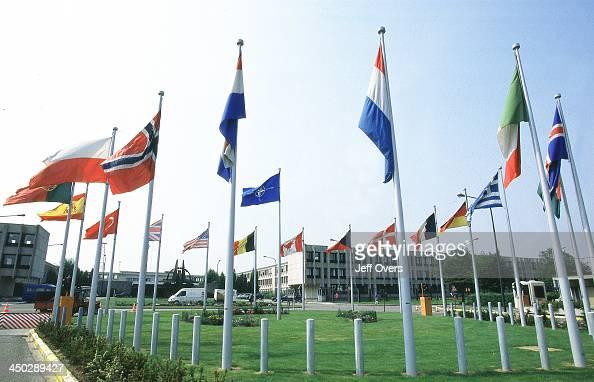Headquarters flags Brussels Belgium