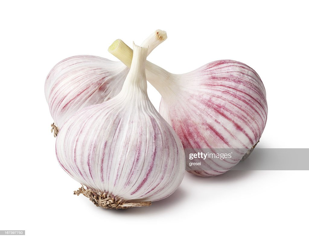 heads of garlic on a white background : Stock Photo