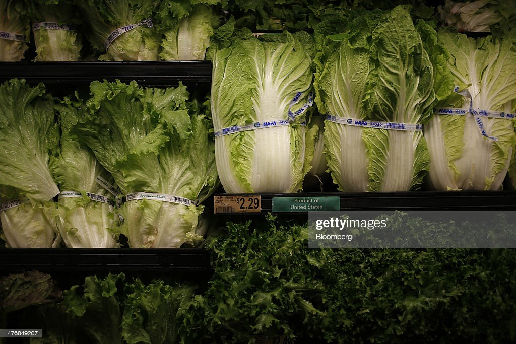 Heads of lettuce are displayed for sale in the produce aisle at a Publix Super Markets Inc. grocery store in Knoxville, Tennessee, U.S., on Wednesday, March 5, 2014. Publix's sales for the fourth quarter of 2013, were $7.4billion, a 5.3 percent increase from last year's $7.0 billion. Photographer: Luke Sharrett/Bloomberg via Getty Images