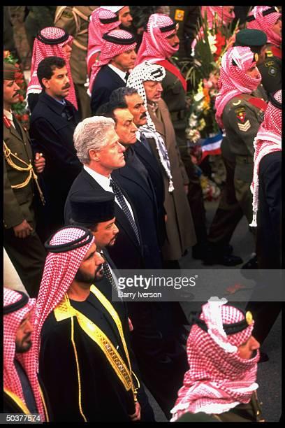 Heads of state at funeral for Jordan's King Hussein Presidents Bill Clinton Hosni Mubarak Ali Abdullah Saleh Palestinian leader Arafat