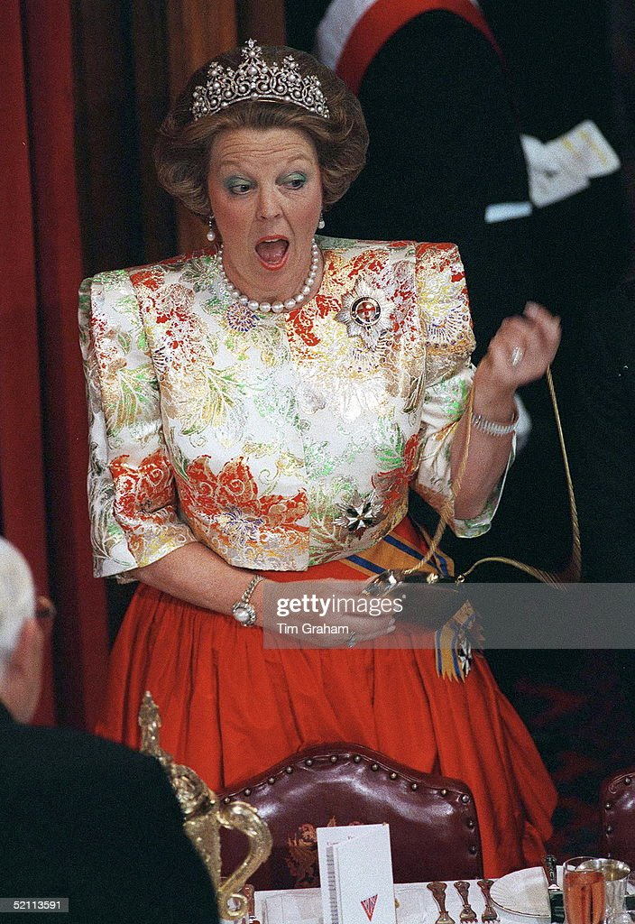 Heads Of State Banquet At Guildhall, London. Queen Beatrix