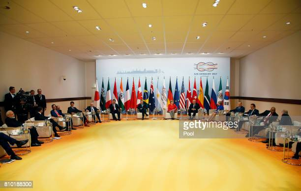 Heads of state gather during the G20 leaders retreat as part of the G20 summit on July 7 2017 in Hamburg Germany Leaders of the G20 group of nations...
