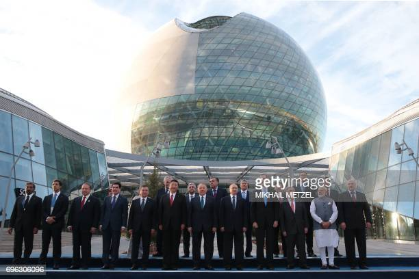Heads of states memners of the Shanghai Cooperation Organisation pose for a photograph during the opening of the EXPO2017 International exhibition in...