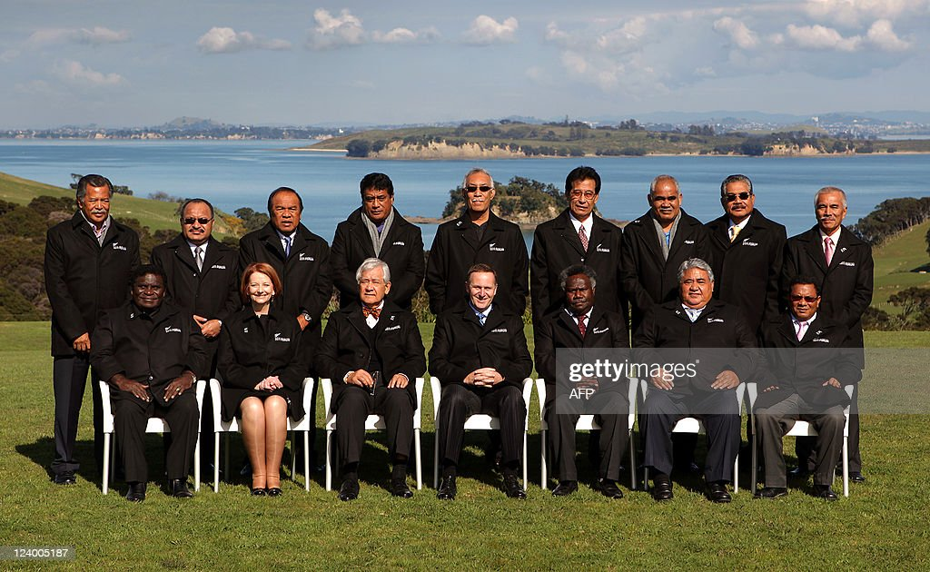 Heads of the 16-nation Pacific Islands Forum (PIF) pose for a group photo at the leaders retreat on Waiheke Island outside Auckland during the second day of the annual PIF on September 8, 2011. Pacific Islands Forum leaders sailed to the island retreat off the Auckland coast to thrash out a communique for the annual summit, with Fiji and climate change set to be key talking points. Pictured (from front L) are Solomon Islands Prime Minister Danny Philip, Australian Prime Minister Julia Gillard, Pacific Islands Forum Secretary General Tuiloma Neroni Slade, New Zealand Prime Minister John Key, authorized special envoy from Vanuatu, Simeon Athy, Samoa Prime Minister Tuilaepa Sailele Malielegaoi and Nauru President Marcus Stephen and in the back row (from L) Cook Islands Prime Minister Henry Puna, Papua New Guinea Prime Minister Peter O'Neill, Marshall Islands President Jurelang Zedkaia, Tonga Prime Minister Tu'ivakano, Niue Premier Toke Talagi, Micronesia President Emanuel Mori, Tuvalu Prime Minister Willy Telavi, Palua President Johnson Toribiong and Kiribati President Anote Tong. AFP PHOTO / Bradley AMBROSE