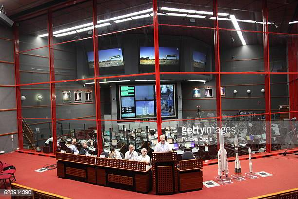 Heads of the mission brief about the Ariane5 launch on October 5 2016 in Kourou French Guiana Ariane 5 launched successfully carrying India's GSAT18...