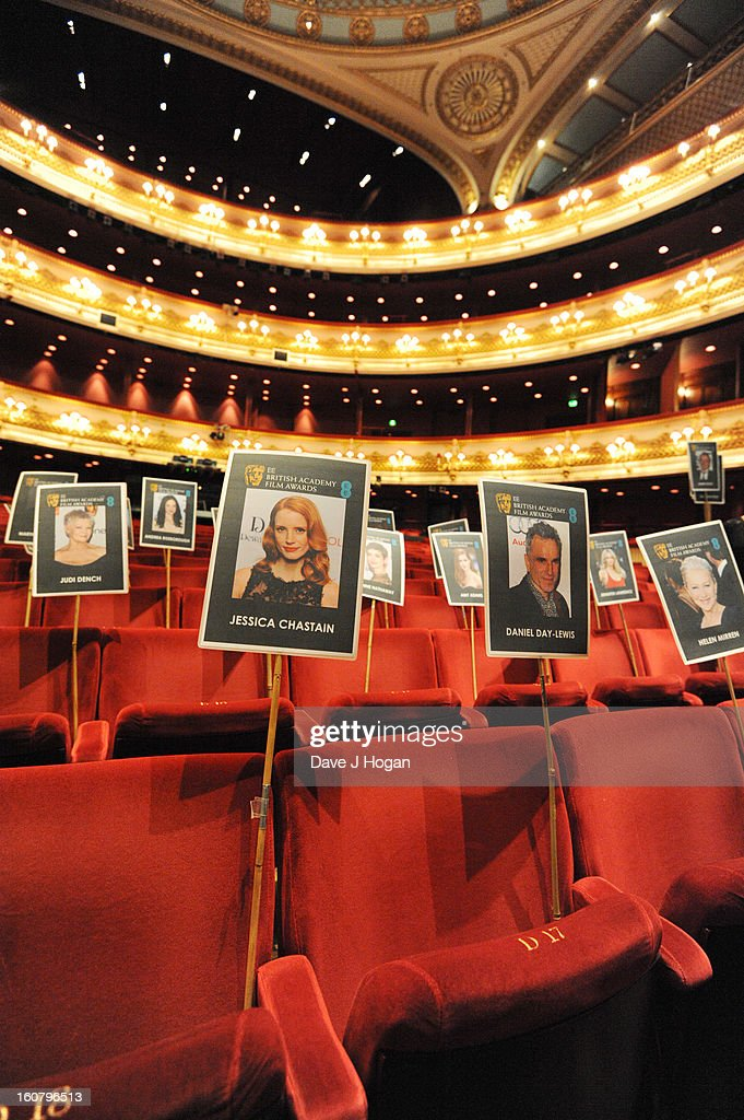 Heads on sticks are laid out for camera blocking ahead of the EE British Academy Film Awards 2013 at The Royal Opera House on February 6, 2013 in London, England.
