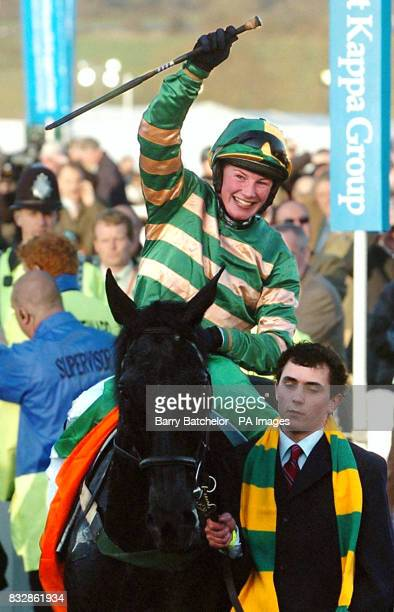 Heads Onthe Ground and jockey Nina Carberry after winning the Sporting Index Cross Country Handicap Chase at Cheltenham racecourse