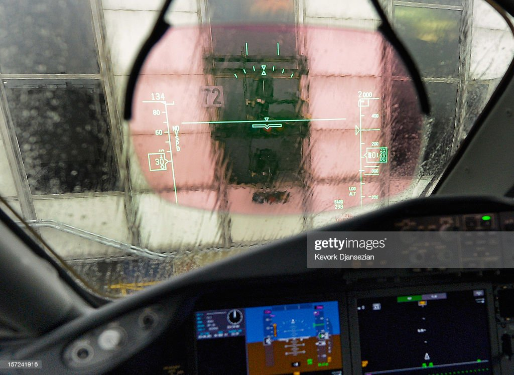 A Heads Up Display (HUD) appears on the windshield of the United Airlines new Boeing 787 Dreamliner at Los Angeles International Airport on November 30, 2012 in Los Angeles, California. In January the new jet is scheduled to begin flying daily non-stop between Los Angeles International airport and Japan's Narita International Airport and later to Shanghai staring in March. The new Boeing 787 Dreamliner will accommodate 219 travelers with 36 seats in United Business First, 70 seats in Economy Plus and 113 in Economy Class. The carbon-fiber composite material that makes up more than 50 percent of the 787 makes the plane more fuel-efficient.