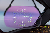 Heads up display on a modern generation commercial jet aircraft.  The HUD is becoming commonplace on the latest fleets of aircraft offering pilots their most important information without having to gl
