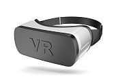 Black and White VR Virtual Reality Headset Isolated on White Background 3D Illustration