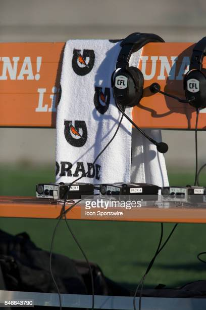 Headsets on the Hamilton TigerCats bench before their game against the Ottawa Redblacks in Canadian Football League Action at TD Place Stadium in...
