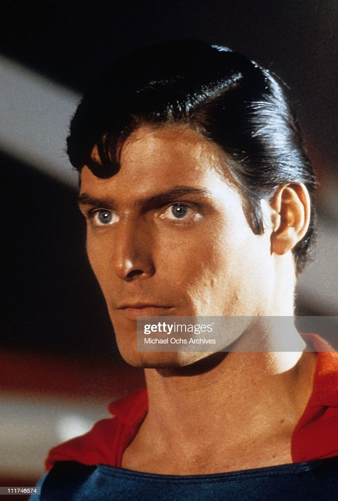 Headshot of actor Christopher Reeve as Superman in a scene from the film, 'Superman,' 1978.