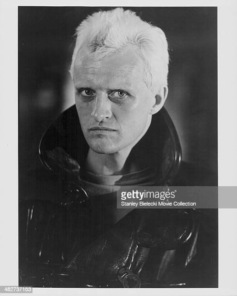 Headshot of actor Rutger Hauer as he appears in the movie 'Blade Runner' 1982
