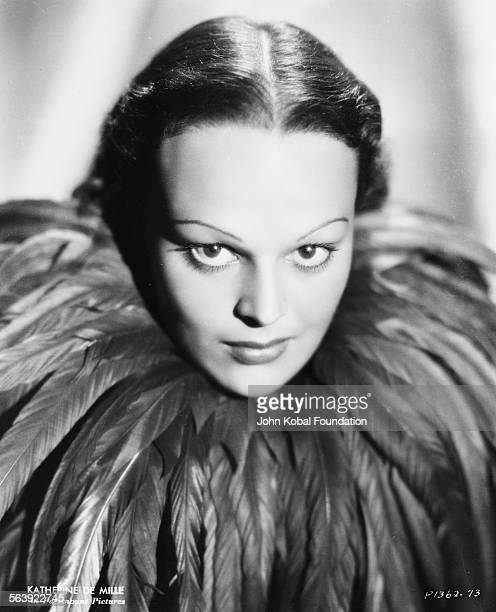 Headshot of actress Katherine DeMille wearing a feathered neck piece daughter of famous filmmaker Cecil B DeMille for Paramount Pictures 1935