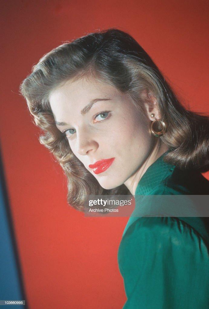 Headshot of actress Lauren Bacall USA circa 1945