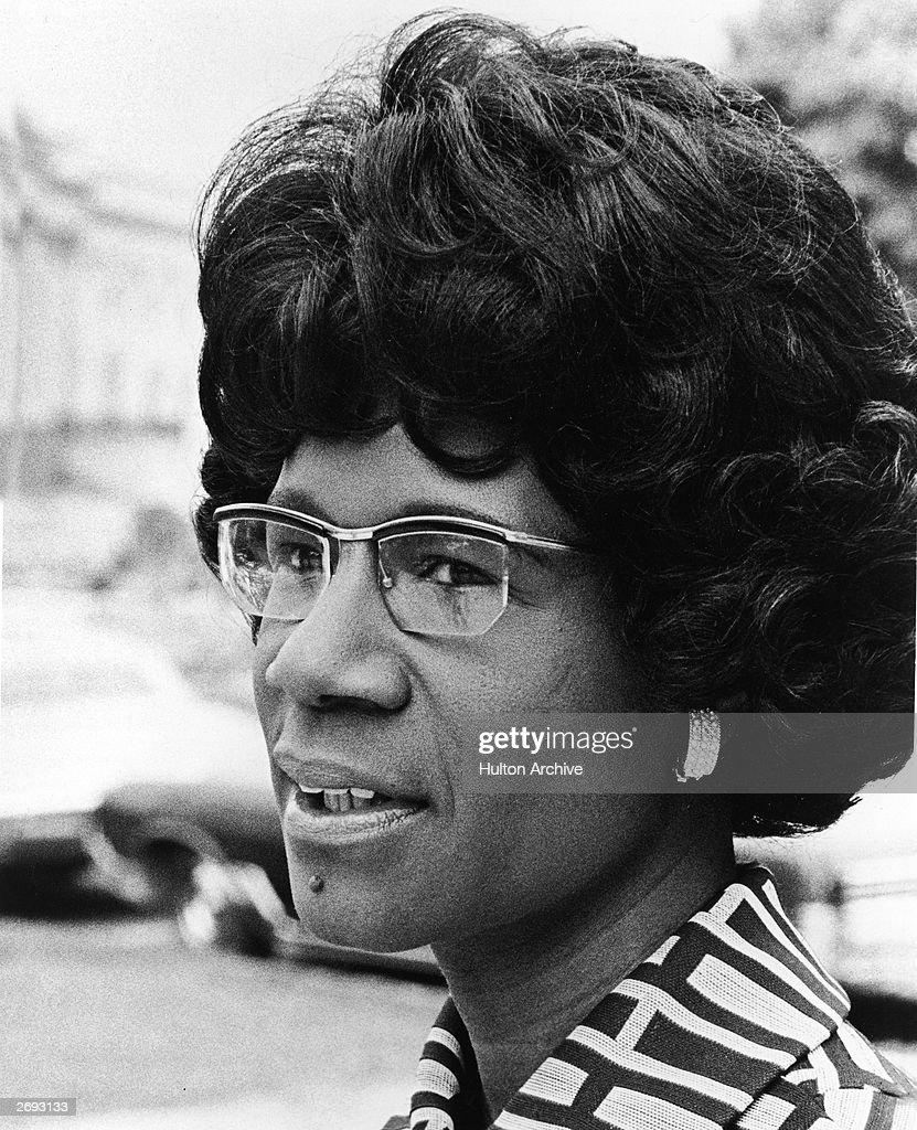 A headshot of African American educator and U.S. Congresswoman Shirley Chisholm, 1973. Chisholm was the first black woman elected to the U.S. Congress and the first woman to run for president in 1971.