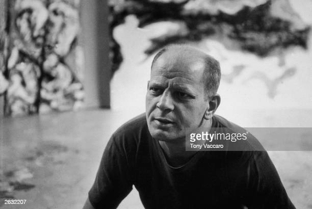 Headshot of American abstract expressionist painter Jackson Pollock at his studio in East Hampton New York August 1953