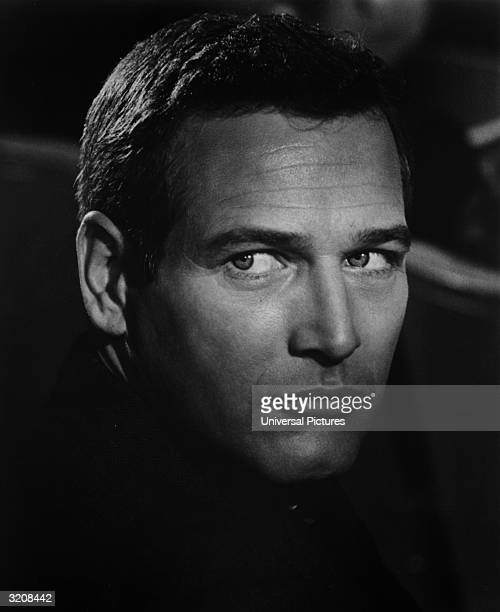 Headshot of American actor Paul Newman in a still from director Alfred Hitchcock's film 'Torn Curtain'