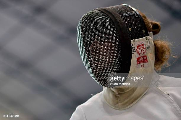 Headshot of athlete Kate French of Great Britain iduring the female fencing event as part of the Modern Pentathlon World Cup Series 2013 at Complexo...