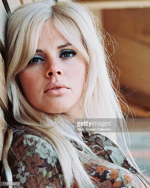 Headshot of Britt Ekland Swedish actress with long blonde hair circa 1970