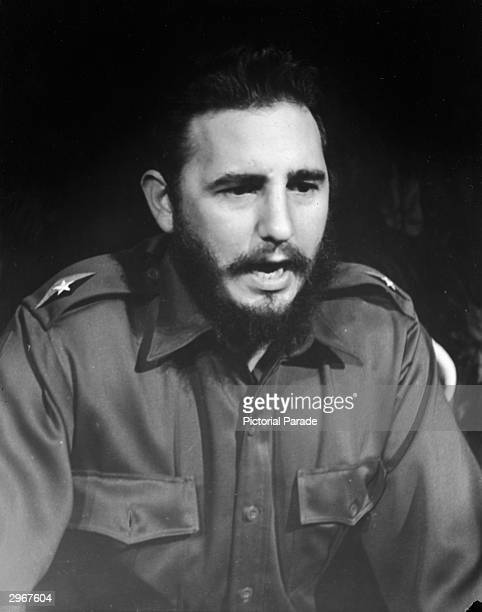Headshot of Cuban President Fidel Castro speaking in uniform during a visit to the United States New York City 1959