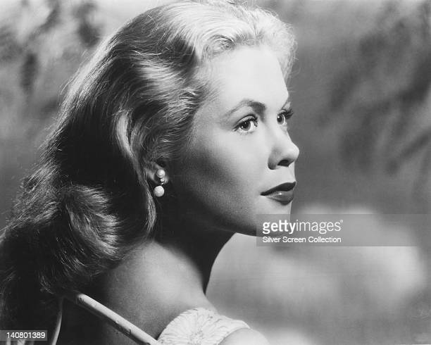 Headshot of Elizabeth Montgomery US actress in profile looking toward the right of the image in a studio portrait against a light background circa...