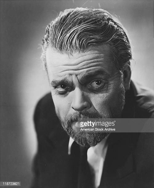 Headshot of Orson Welles US film director actor theatre director screenwriter and producer in a publicity portrait issued for the film 'Tomorrow Is...