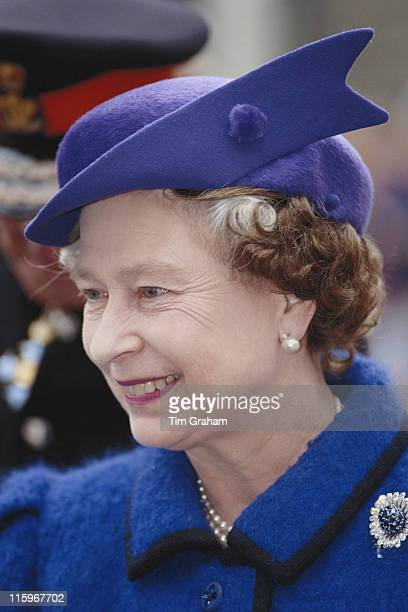Headshot of Queen Elizabeth II wearing a blue coat and matching hat during a walkabout on her birthday in the village of Treherbert in Wales Great...