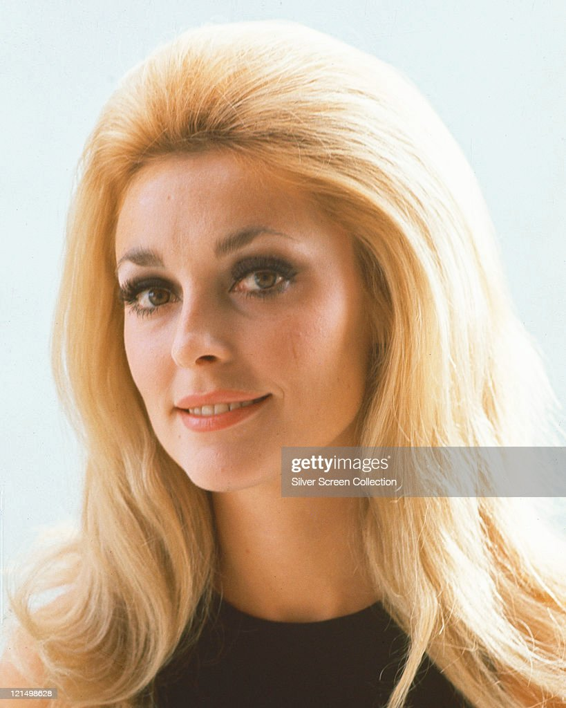 Headshot of <a gi-track='captionPersonalityLinkClicked' href=/galleries/search?phrase=Sharon+Tate&family=editorial&specificpeople=225003 ng-click='$event.stopPropagation()'>Sharon Tate</a> (1943-1969), US actress, wearing a black round-neck jumper, in a studio portrait, against a white background, circa 1965.