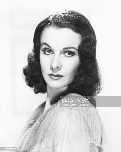 Headshot of Vivien Leigh British actress in a studio portrait against a white background circa 1940