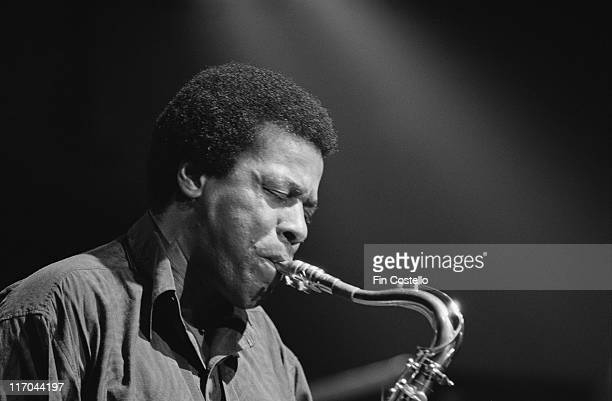 Headshot of Wayne Shorter US jazz saxophonist playing the saxophone during a live concert performance at the Town Country Club in Kentish Town London...