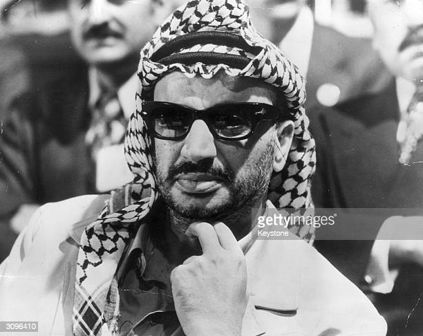 Headshot of Yasser Arafat leader of the PLO at an Arab Summit conference in Rabat Morocco October 28 1974